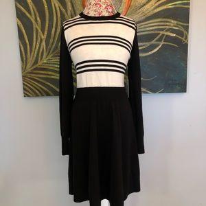 Eliza J Black and White Striped Sweater Dress